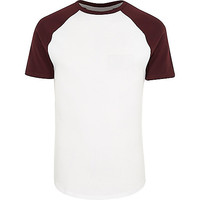 White muscle fit raglan T-shirt - plain t-shirts - t-shirts / tanks - men