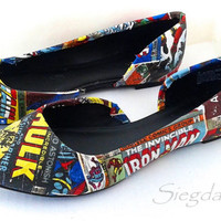 Marvel Comic Book-Women's Flats-Summer Flats-Hulk-Xmen-Captain America-Iron Man-Spiderman-Geek Chic-Custom Decoupage Shoes-