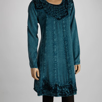 Teal Velvet Embroidered Tunic
