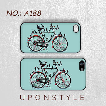 Phone Cases, iPhone 5 Case, iPhone 5s Case, iPhone 4 Case, iPhone 4s case, Retro bicycle, Birds, iPhone Case, Case for iphone, Case No-188