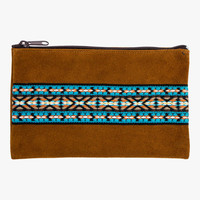Turquoise Hoot Tobacco Suede Zip Pouch | Wovenfree