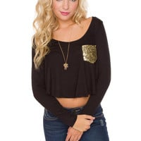 Kalila Sequin Pocket Top - Black