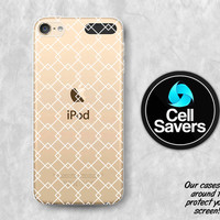 White Pattern Clear iPod 5 Case iPod 6 Case iPod 5th Generation iPod 6th Generation Rubber Case Gen Clear Case White Line Art Modern Tumblr