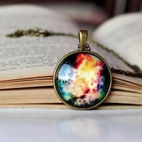 Colorful Galaxy Necklace, Univers Jewelry, Nebula Necklace, Resin Jewelry