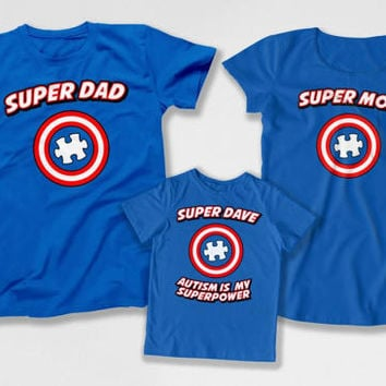 Autism Mom Shirt Matching Family Outfits Autism Dad T Shirt Superhero Gifts For Kids Month Autism Is My Superpower Bodysuit DN-4(22-29-36)