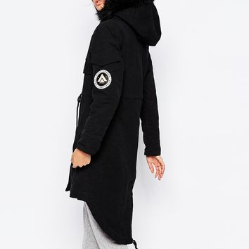 Nicce London Luxury Parka Coat With Fluffy Faux Fur Trim