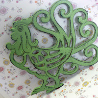Rooster Cast Iron Trivet Hot Plate Pistachio Green Distressed Shabby Chic Ornate Swirled Tail Rooster Farm House Country Chic Kitchen Decor