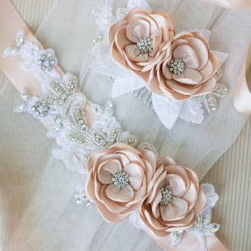 Bridal Champagne Flower Headpiece. Bridal Champagne Flower Hair Comb.