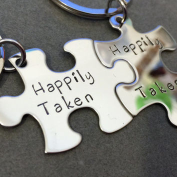 Happily Taken, Taken Keychains, Puzzle Piece Keychains, Couple Keychain, Couples Gift, Anniversary Gift, His Her Gift,Unique Engagement gift