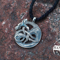 Handmade Wolf Pendant Sterling Silver Necklace Pagan Jewelry