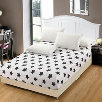 1pc 100% Polyester Fitted Sheet Mattress Cover Printing Bedding Linens Bed Sheets With Elastic Band Double Queen KING Size