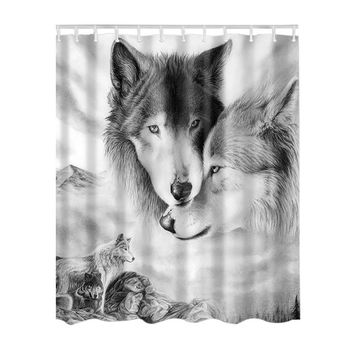 180*180 CM SPA Waterproof Shower Curtain Digital Shocking Animal Color Printing Bathroom Decoration With Hooks High-quality
