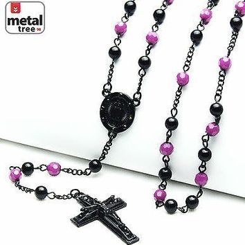 "Jewelry Kay style Fashion Rosary 6mm Purple Bead Guadalupe Jesus Cross 28""  Necklace HR 600 KKPU"
