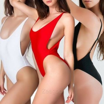 Sexy High Cut Cut-Out One-Piece Beachwear Swimsuit Swimwear New Black/White/Red Z_G [7954176903]
