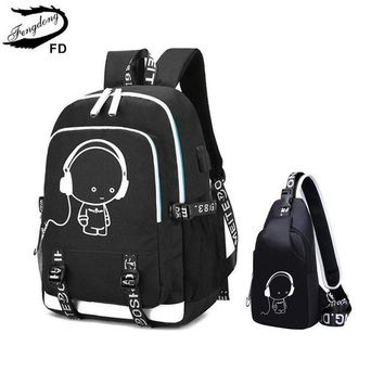School Backpack trendy FengDong 2pcs female travel laptop backpack school bags for girls sling shoulder chest bag set black waterproof  AT_54_4