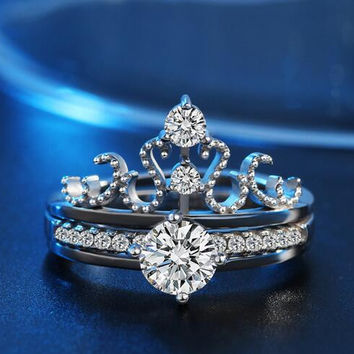 925 sterling silver filled AAA Cubic zirconia Simulated stones Wedding Engagement corwn Ring set gift
