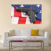 Pistol With American Flag Multi Panel Canvas Wall Art