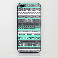 Grey Mint Tiffany Aztec Pattern iPhone iPhone & iPod Skin by RexLambo