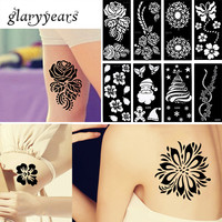 42 Designs 1 Piece Henna Tattoo Stencil Waterproof Flower Lace Design Sexy Women Body Art Tattoo Stencil Product Christmas Gifts