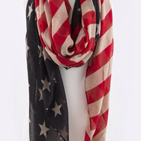 American Flag Scarf / Patriotic scarf / Fourth of July Flag Scarfs / USA / Independence day Scarf / Red white and Blue / Infinity Flag Scarf