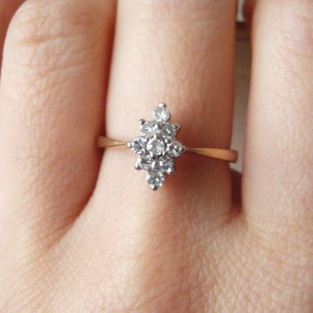 Vintage Marquise Diamond Cluster Ring, 9 Carat Gold Navette Shaped Diamond Ring Approx. Size US 6.5