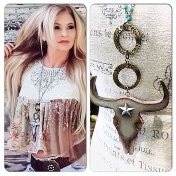 Gypsy cowgirl junk steer necklace cowgirl Texan jewelry by True Rebel Clothing