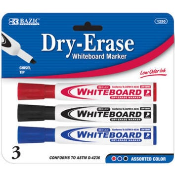 BAZIC CHISEL TIP DRY-ERASE MARKERS (3/PK)