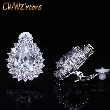 CWWZircons Silicone Hold Gorgeous Big Teardrop Cubic Zirconia Stone No Pierced Ear Clip On Earrings For Women Gift CZ111