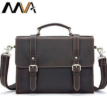 Men Laptop Messenger Bags Crazy Horse Leather Shoulder Bags Business Briefcase Laptop Handbag Tote Vintage Crossbody Bag Men