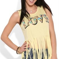 Fringe Tank Top with Floral Love Screen