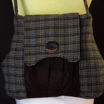 Retro Tweed Purse with Flap-- 1940s inspired -- Brown, Tan, and Blue -- Brown Faux Suede Pleated Exterior Pocket