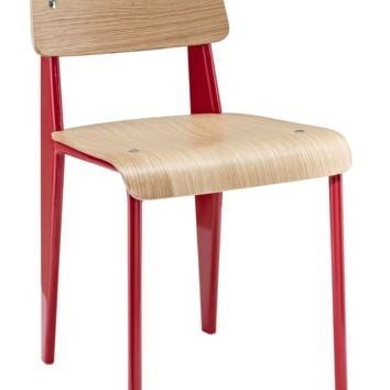 Prouve Style Side Chair - Natural and Red