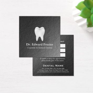 Modern Black White Dental Care Dentist Appointment Square Business Card