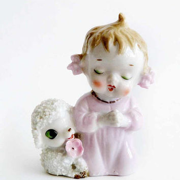 Praying Child Kneeling with Spaghetti Porcelain Lamb Figurine 1940 JAPAN Kneeling Girl Pink Nightgown Cowlick Pigtails