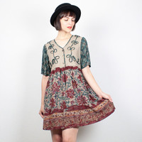 Vintage 1990s Dress Babydoll Dress Boho Floral Mini Dress 90s Dress Soft Grunge Dress Burgundy Beige Green Boho Hippie Dress M Medium L