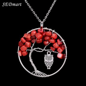 SEDmart Vintage Owl Tree Of Life Red Coral Pendant Necklace Boho Style Handmade Silver Color Wisdom Tree Faceted Beads Necklace