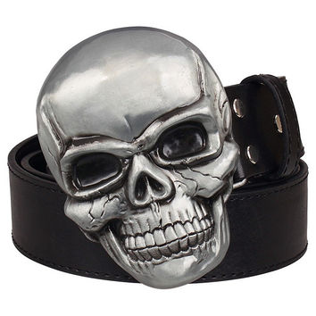 Goths wild style fashion men's belt big skull head metal buckle