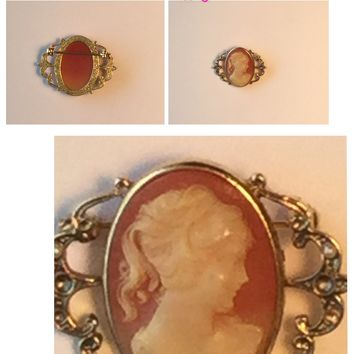 Vintage Cameo  brooch /Free Shipping