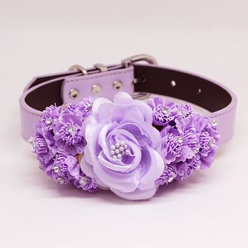 Lavender Handmade Floral Dog Leather Collar, Pet Wedding, Dog of Honor