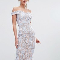 Boohoo Lace Off The Shoulder Midi Pencil Dress at asos.com