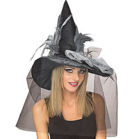 Witch Black Hat With Feather - Spirithalloween.com