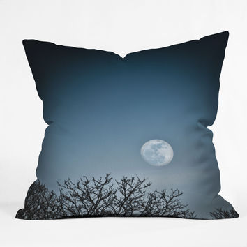 Bird Wanna Whistle Moon Throw Pillow