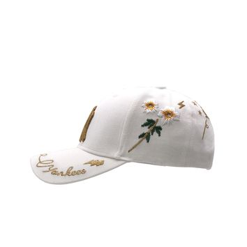 MLB NY Fashion New Embroidery Letter Women Men Sunscreen Caps Hat white-gold