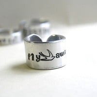 ONE Personalized Hand Stamped Ring In Your Choice of Size and Width Adjustable Silver Metal