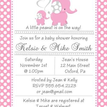 10 Pink Polka Dot Elephant Baby Shower Invitations