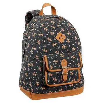 Heritage Black Ditsy Floral Canvas Backpack