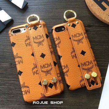 MCM iPhone wrist band Phone Cover Case For iphone 6 6s 6plus 6s-plus 7 7plus Brown