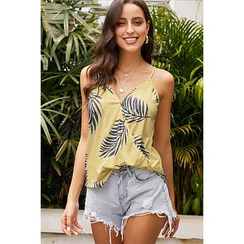 Summer Yellow Tropical Plant Print Tank Top