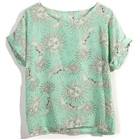 Mint Green Tatoo Print Short Sleeve Top