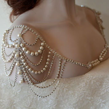 Wedding Dress Shoulder, Wedding Dress Accessory, Bridal Epaulettes, Rhinestone and Pearl Shoulder, Wedding  Accessory, Bridal Accessory